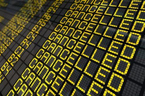 Flight cancelled! - Könnte am Mittwoch und Donnerstag vor allem in Frankreich und Portugal Wirklichkeit werden. Bild: Shutterstock
