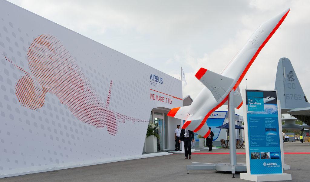 Ein Modell des Space Planes wurde auf der Singapore Airshow gezeigt. Bild: Airbus / master films / P. Pigeyre