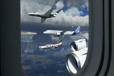 Formationsflug: Man kann sich online in der virtuellen Welt mit anderen Piloten zusammentun.