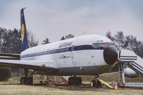 Die B707-430 - Traditionsmaschine von Hamburg Airport an ihrem heutigen Standort im nördlichen Bereich des Flughafengeländes nahe der Betriebsfeuerwehr. Foto: Oliver Sorg